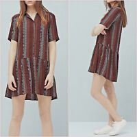 Black Red Ethnic Short Sleeve Skater Flowy Dress Mango Size 8 US 4 Zara Blogger❤