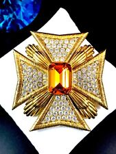 Crystal Rhinestone Maltese Cross Brooch Majestic Joan Rivers Goldtone Amber Pave