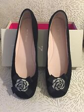 Taryn Rose Shoes, Size 9, Black Leather Suede Flats w/Bow and Crystals