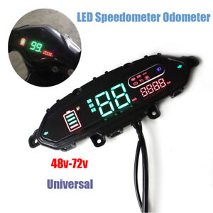 1× Electric Motorcycle Odometer Speedometer Power Headlight Turn Digital Display
