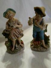 Vintage Homco Home Interiors Boy w/ Chicken & Girl w/ Bird Figurines # 8880