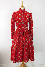 Vtg 70s Laura Ashley Country Prairie Cord Dress US 8 Blueberry Print Carno Wales