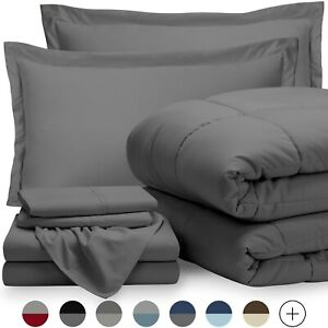 5 Piece Sheet and Comforter Set- Bed in a Bag  (Twin XL, Grey)