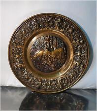 """Vintage 14.5"""" Pressed Copper Wall Display Plate,  Two Deer Scene"""