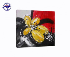 LARGE ABSTRACT PAINTING HAND PAINTED BLACK WHITE RED & YELLOW FLOWER (NO FRAME)