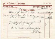 GLOCKENTAL-THUN, Rechnung 1940, E. Rüedi & Sohn Sperrplatten Eichenbretter