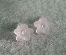 Light pink frosted flower earings