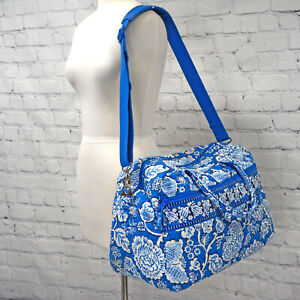 ❤️ VERA BRADLEY 'Blue Lagoon' Weekender Travel Duffel Carry On Blue White Floral