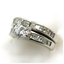 Ring, Szs 6 or 7 or 8 Heart Stainless Steel Cubic Zirconia Engagement & Wedding