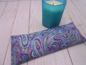 Eye Pillow Organic Lavender Flax Seed Paisley Cotton Print Aromatherapy