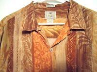 LUAU  Finest Silk Sz Large Mens Brown Floral Hawaiian Camp Shirt