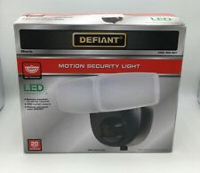 Defiant Motion Activated Outdoor Integrated LED Twin Head Battery Power Black