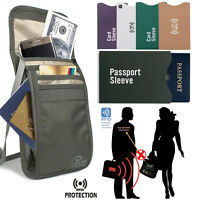 ULTRA-SOFT Neck Bag RIFD Travel Document Passport Organizer with Zipper & Strap