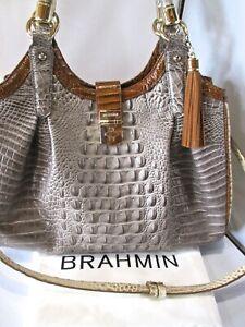 BRAHMIN Celia Croc Embossed Satchel Shoulder Bag Leather Purse Handbag $435