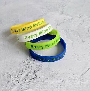 (X1) EVERY MIND MATTERS Mental Health Awareness Bracelets Wristband UK Seller
