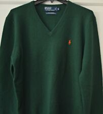 Polo Ralph Lauren Mens Medium V-Neck Italian Lambswool Sweater Green