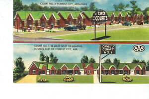 Forrest City AR Carl's Court Vintage Postcard UNUSED Excellent CARS
