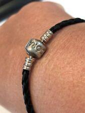 Genuine Authentic Pandora Black Leather & Silver 925 ALE Bracelet