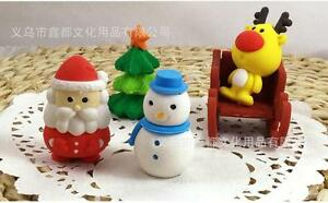 4pcs Santa Snowman Reindeer Christmas Tree Erasers Rubbers Stocking Fillers Gift