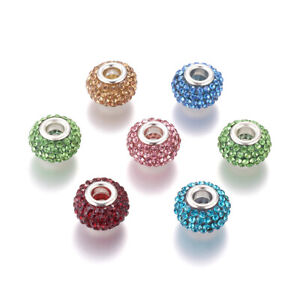 50 Random Resin Paved Rhinestone European Beads Shamballa Large Hole Charms 15mm