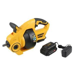 OLYMPIA Electric Power Drain Auger Cordless 18-V Lithium-Ion Battery 25 ft Cable