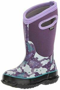 $80 Bogs Girls Kids size 11 little girl Classic  Boots BEARS Purple white EU 27