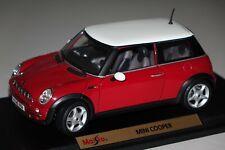Mini Cooper rot weiß 1:18 Maisto 31619 neuwertig mit OVP