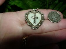 Vintage Sterling - CHRISTIAN CROSS HEART - w marcasites and MOP - pendant medal