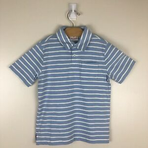 Hannah Andersson Boys Short Sleeved Pocket Polo Size 110 US 5 Blue White Stripes