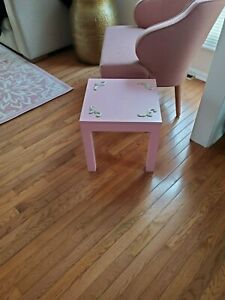 pink with gold accents side table