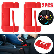 2Pc Red Car Seat Belt Buckle Clip Anti-Scratch Silicone Cover Safety Accessories
