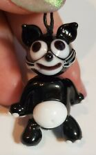 Vintage Glass Bead Pendant Charm Cat Black &White 1.5 inch (40 cm)