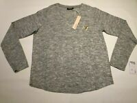 ladies fine thin knit lightweight sweater pullover jumper top Grey Gold, size 14
