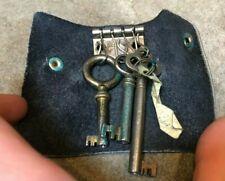 Lot of 3 Vintage Hollow Antique Skeleton Keys on Key Ring Leather Wallet Holder