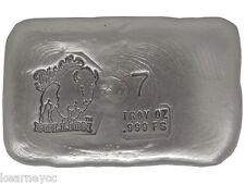 7 TROY OUNCE .999 FINE SILVER HAND POURED BISON BULLION STANDARD BAR NEBRASKA