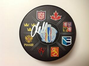 Jacob Markstrom Signed Autographed Sweden 2016 World Cup of Hockey Puck a