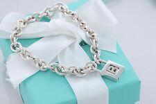 "Tiffany & Co. Sterling Silver Letter ""B"" Padlock Charm Bracelet 8"" w/Box & Pouch"