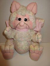 """Stuffed Handmade Cotton Fabric Pink Cat 15"""" tall x 11"""" wide x 7"""" deep"""