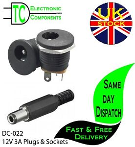 DC-022 12V 3A 5.5x2.1mm DC Power socket and Plugs Screw Nut Panel Mount