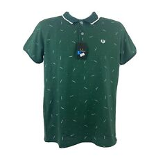 Fred Perry Large Men's Twin Tipped Green Polo Shirt Short Sleeve