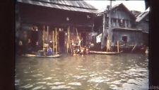 1962 Children Playing Scene of River Houses  Bangkok Thailand 35mm Kodak Slide