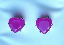 Purple Faceted Glass Claw Set Silver Tone Heart Stud Earring 8 x 8mm