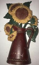 Cast Iron Sunflower Door Stop Country Doorstop Stopper Red Pot Midwest Importers