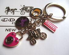 Coach Horse Carriage Heart Locket Key Fob Chain Keychain Charm NEW