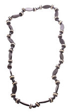 Magnificent Monochrome Oval & round Liquorish Beads Wooden Necklace.(Zx133)