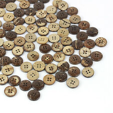 50pcs Brown Coconut Shell With 4 Holes Buttons Sew Sewing Scrapbooking#18mm