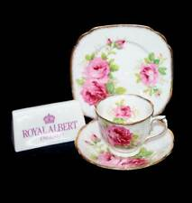 Vintage Royal Albert American Beauty teacup trio set with square plate