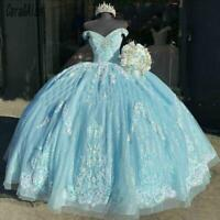 Blue Quinceanera Off Shoulder Dresses Lace Appliques Beaded Sweet 16 Ball Gown