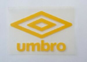 Yellow Retro Umbro diamond logo rounded corners Press on clothing football shirt