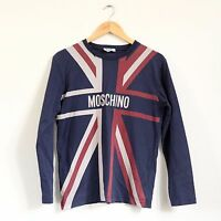 Vintage Moschino Junior Union Jack Navy Long Sleeve Top (Adult Size Small)